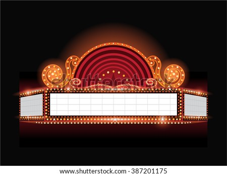 Brightly vector theater glowing retro cinema neon sign - stock vector