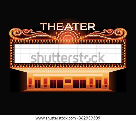 Brightly vintage glowing retro cinema neon sign - stock vector