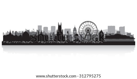 Brighton city skyline silhouette vector illustration - stock vector