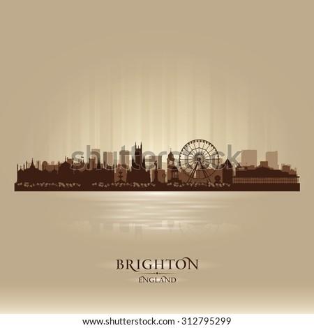 Brighton England skyline city silhouette - stock vector