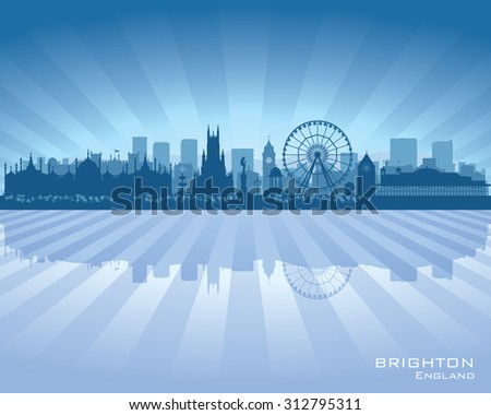 Brighton England skyline with reflection in water - stock vector