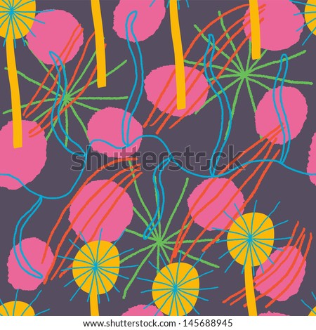 Brilliant colorful floral background. Vector seamless composition - stock vector