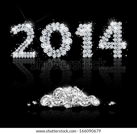 Brilliant text for the new year 2014. Vector illustration - stock vector