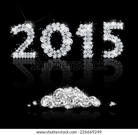 Brilliant text for the new year 2015 with diamonds. Vector background - stock vector