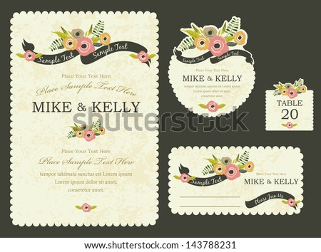 Brimming with blooms invitation card - stock vector
