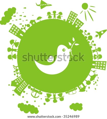 bringing peace to the world - stock vector