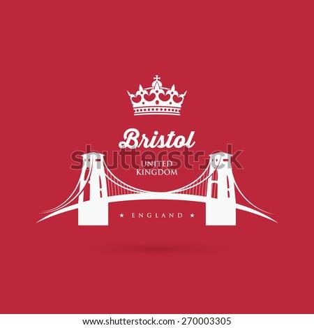 Bristol Clifton suspension bridge sign - vector illustration - stock vector