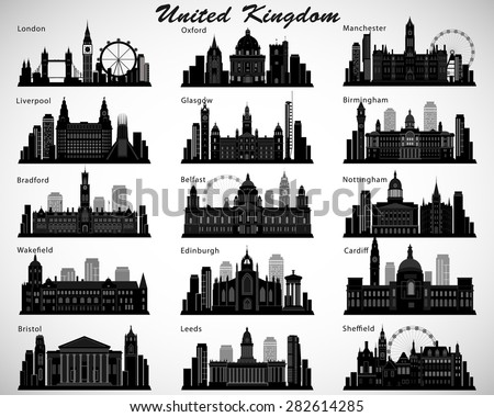 Britain's cities skylines set. Vector silhouettes. United Kingdom of Great Britain and Northern Ireland - stock vector
