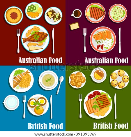 British and australian dishes served with grilled lamb and beef steaks, salted salmon, meat pie, egg sandwiches, vegetables and fruits, green pea soup, toasts, scones buns and hot beverages - stock vector