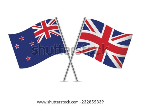 British and New Zealand flags. Vector illustration.
