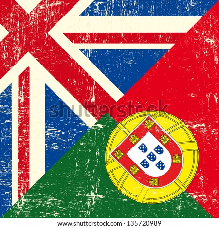 british and portuguese grunge flag. this flag represents the relationship  between England and Portugal