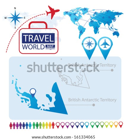 British Antarctic Territory. World Map. Travel vector Illustration. - stock vector