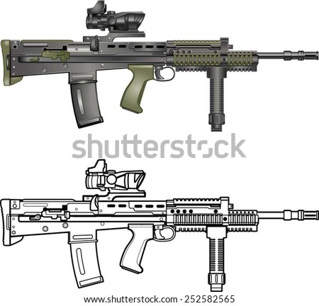 british automatic assault rifle  - stock vector