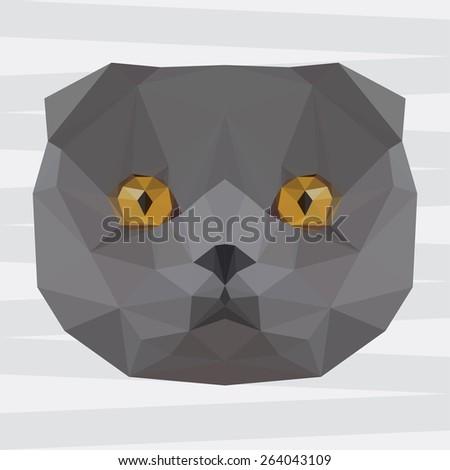 British cat. Cat. Abstract cat.Polygonal cat. Geometric cat. Triangle cat. Abstract cat portrait. Cat. Graphic cat. Cat gaze. Cat close up. Isolated cat. Cat. Cat icon. Cat portrait. Cat. British cat. - stock vector