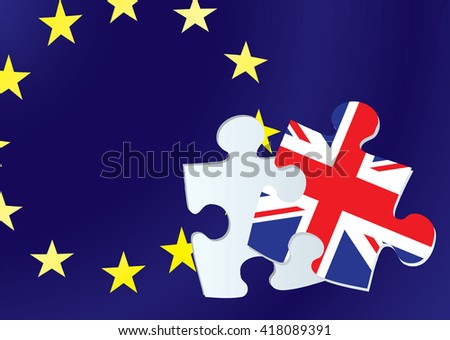 British exit from the european union with flags from europe and Britain - stock vector