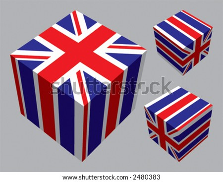 British flag extruded and mapped onto 3 cubes. CMYK on separate layers. - stock vector