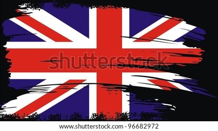 British flag grunge vector - stock vector