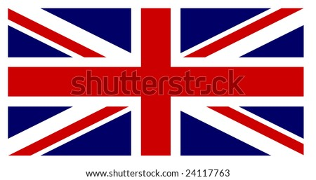 British flag with exact dimensions and colours - stock vector
