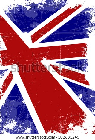 British flag with scratches - stock vector