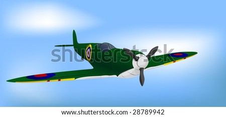 British Green RAF WW2 Spitfire Vector Illustration - stock vector