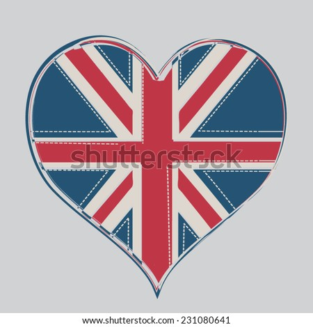 British heart flag illustration, t-shirt graphics, vectors - stock vector