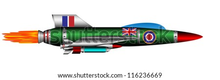 British jet-fighter isolated on white background - vector - stock vector