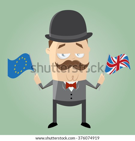 british man with european flag and union jack - stock vector