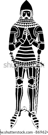 British medieval knight wearing an iron suit of armour - isolated vector illustration - stock vector