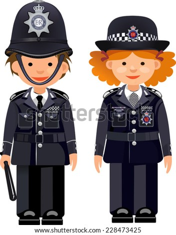 British metropolitan police officers. Traditional authentic helmet  - stock vector