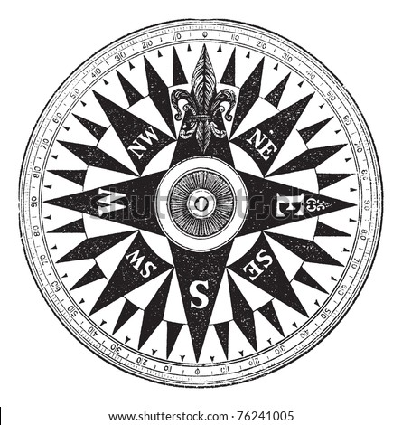 British Navy Compass, vintage engraved illustration of British Navy Compass, isolated against a white background. - stock vector