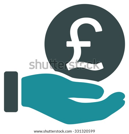 British Pound Coin Payment vector icon. Style is flat bicolor soft blue symbol, rounded angles, white background.