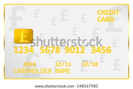 British Pound Credit Card - stock vector