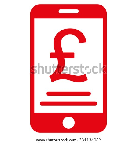 British Pound Mobile Payment vector icon. Style is flat red symbol, rounded angles, white background.