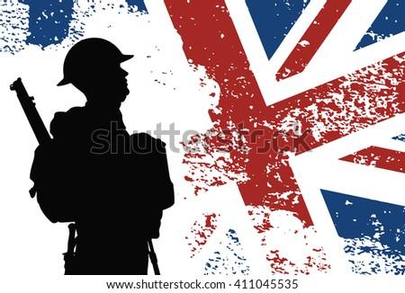 British soldier WWII - stock vector