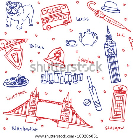 British symbols and icons seamless pattern - stock vector