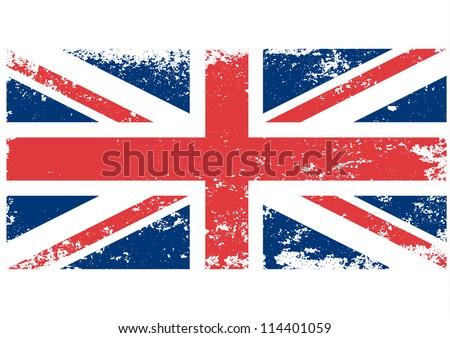 British  UK flag grunge - stock vector