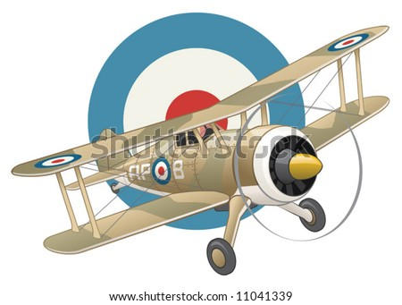 British WW2 plane on air force insignia background - stock vector