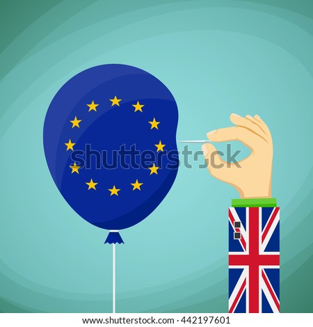 Briton with a needle in his hand and a balloon with the flag of the European Union. Stock Vector cartoon illustration. - stock vector