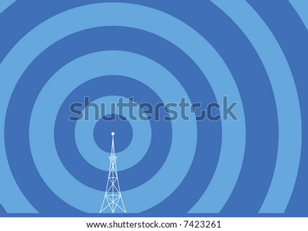 broadcast tower with transmission waves - stock vector
