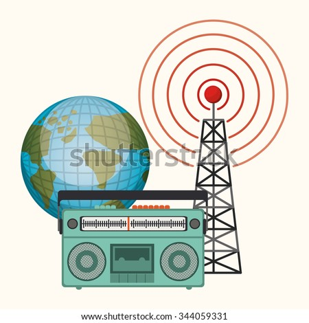 broadcasting concept design, vector illustration eps10 graphic  - stock vector