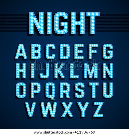 Broadway lights style light bulb alphabet, night show. Vector illustration. - stock vector