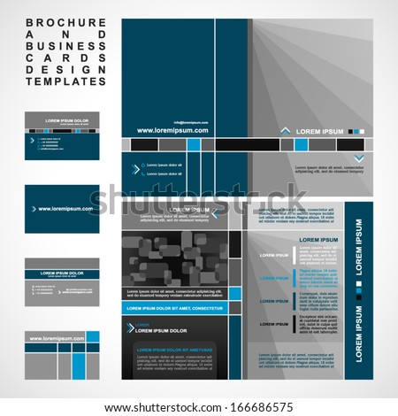 Brochure and Business cards design templates collection, retro style with modern elements, pages layouts in classic colors and creative solutions for advertising design and decoration  - stock vector