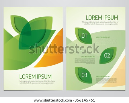 Brochure, annual report, flyer, magazine cover green and orange vector template. Modern green leaf, environment design. - stock vector