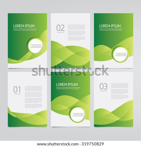 Brochure, annual report, flyer, magazine vector templates. Set of modern green corporate designs. - stock vector
