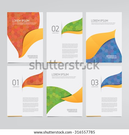 Brochure, annual report, flyer, magazine vector templates. Set of modern hexagon pattern corporate designs. - stock vector