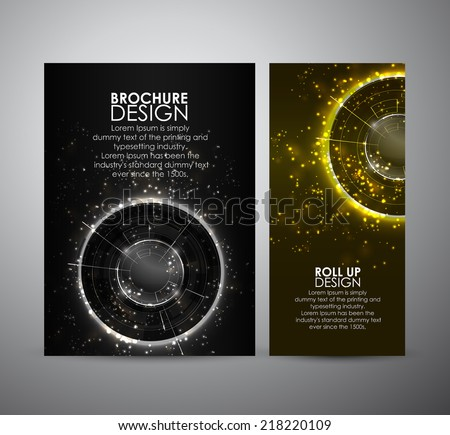 Brochure business design template or roll up. Abstract Modern technology circles  - stock vector