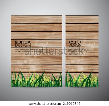 Brochure business design template or roll up. green grass over wood fence background - stock vector