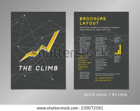 Brochure / catalog / cover / page layout template. Polygonal design, geometric sharp surfaces, minimalistic color style. Growing 3d trend shape, line graph theme. Growth and progress concept.  - stock vector
