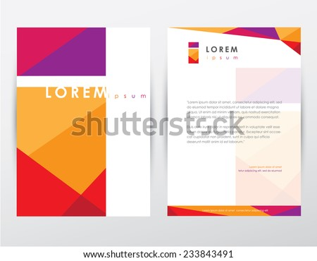 brochure cover and letterhead template design mockup for business company presentations and stationery set- colorful trendy geometrical pattern with letter i logo sign - stock vector