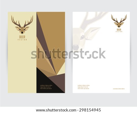 brochure cover and letterhead template mock up design with geometric polygonal deer head logo - stock vector